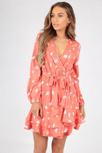 CORAL ABSTRACT PRINT RUFFLE WRAP DRESS SIZES UK 8, 10, 12, 14